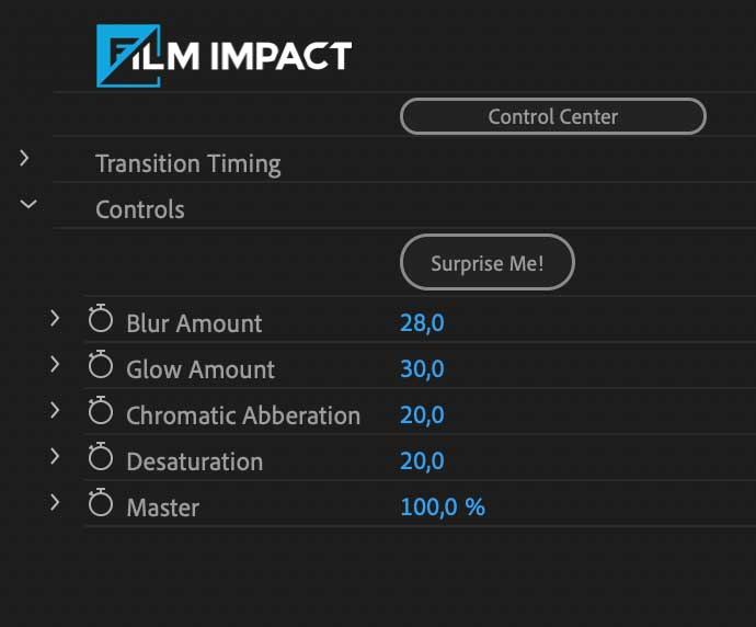 Screenshot parameter controls of the Flash Impacts video transition inside Premiere Pro