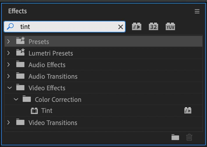 Tint effects listed in the Premiere Pro effects library