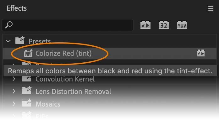 Presets listed in the Premiere Pro Effects Browser