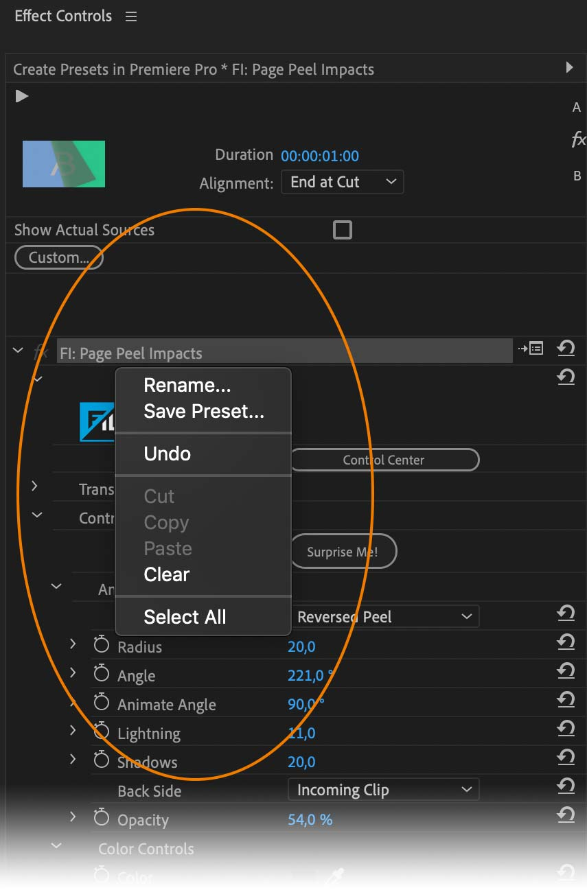 Create preset from Page Peel Effect