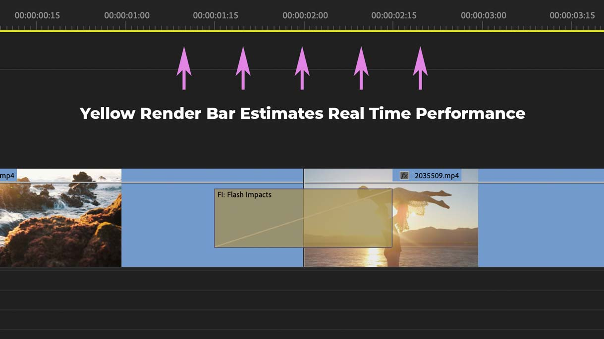 Yellow render bar indicates realtime performance in your Premiere Pro sequence