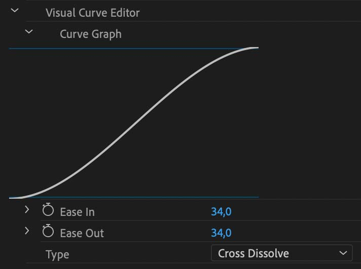 Curve graph visually indicates how graceful your cross-dissolve will begin and end